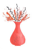 Watercolor wild ears  in vase on white background.  Royalty Free Stock Photo