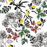 Watercolor Wild exotic birds on flowers seamless pattern on white background royalty free illustration