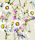Watercolor wild flowers background Stock Photography