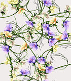 Watercolor wild flowers background Royalty Free Stock Photography