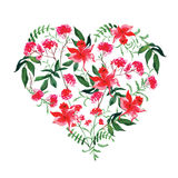 Watercolor wild flowers vector design heart Stock Images
