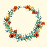 Watercolor wild flowers and wheat wreath. Watercolor wild red poppies, wheat, cornflowers and cold green leaves in wreath on a light background Stock Photos