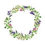 Watercolor wild flowers wreath Stock Photo