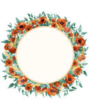 Watercolor wild flowers wreath. Watercolor wild red poppies, wheat, cornflowers and cold green leaves in wreath on a light background Royalty Free Illustration