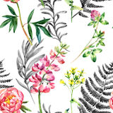 Watercolor wild garden flowers seamless pattern. Watercolor garden flowers seamless pattern. Lupin, peony and wild meadow flowers on white background. Hand Stock Photo