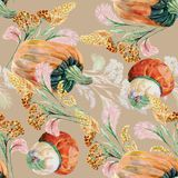 Watercolor Wild Grasses with Pumpkin on a pink background. Different   flowers handmade  pink  background seamless pattern watercolor color  floral  original Stock Photo