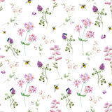 Watercolor wildflower pattern Stock Photos