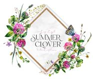 Watercolor Wildflower Wreath made of Clover Flowers and Leaves, Foliage, Greenery, Meadow Grass Isolated on White