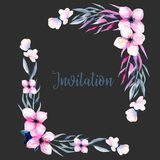 Watercolor wildflowers and branches corner borders in pink and blue shades, hand drawn isolated on a dark background. Mother`s day, birthday and other greeting Royalty Free Stock Photos