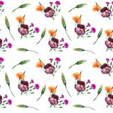 Watercolor wildflowers. Seamless pattern with bouquets and single flowers. On a white background royalty free illustration