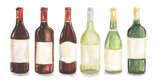 Watercolor wine bottles set. Beautiful bottles for decoration menu in restaurant or cafe. Alcoholic beverage stock illustration