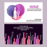 Watercolor Wine business card design. Stock Image