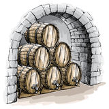 Watercolor wine cellar with barrels Royalty Free Stock Photography