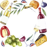 Watercolor wine and cheese frame. Stock Image