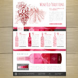 Watercolor Wine concept design. Wed site design Royalty Free Stock Photo