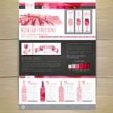 Watercolor Wine concept design.  Wed site design Stock Photo