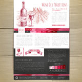 Watercolor Wine concept design. Wed site design Royalty Free Stock Photos