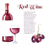 Watercolor wine design elements. Royalty Free Stock Image