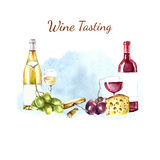 Watercolor wine design elements. Royalty Free Stock Photo