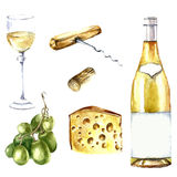 Watercolor wine design elements. Royalty Free Stock Photography