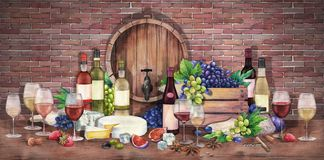 Free Watercolor Wine Glass And Bottle Decorated With Delicious Food Stock Photos - 126526713