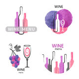 Watercolor wine logos set in pink, purple and black Stock Image