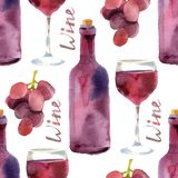 Watercolor wine seamless Royalty Free Stock Image