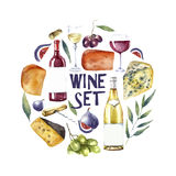 Watercolor wine set. Round card background. Royalty Free Stock Photography