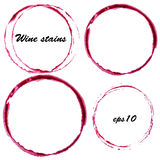 Watercolor wine stains. Wine glass circles mark isolated on white background. Menu design element Stock Photography