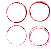 Watercolor wine stains. Wine glass circles mark isolated on white background. Menu design element. S Stock Images