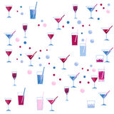 Watercolor wineglass and cocktail glass seamless pattern on white background Stock Photo