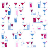 Watercolor wineglass and cocktail glass seamless pattern on white background Stock Images