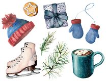 Watercolor winter active sport set. Hand painted white skates, cacao cup with marshmallow, knitted hat and mittens. Giftbox, fir branch and cookie isolated on vector illustration