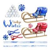 Watercolor Winter Activities Royalty Free Stock Image