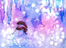 Watercolor winter background with snowman and icicles. Watercolor abstract winter background with snowman, icicles, snowflakes and space for text Stock Photo