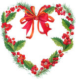 Watercolor winter Christmas wreath with mistletoe, berries and Christmas tree. Stock Photography