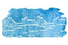 Watercolor winter cityscape. Stock Photos