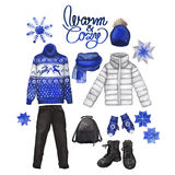 Watercolor winter clothes Royalty Free Stock Photography