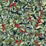 Watercolor winter floral seamless pattern. Hand painted floral branches, berries, snowberries, leaves and pine cones. Isolated. Holiday print. Christmas clip Royalty Free Stock Photo