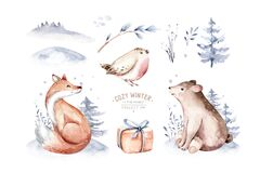 Watercolor winter forest animals deer with fawn, owl rabbits, bear birds on white background. Wild forest fox and