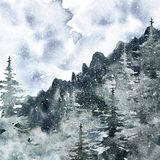 Watercolor winter forest landscape background with pine and spruce snowy trees. Misty mountain background for Christmas design. Watercolor winter misty forest vector illustration