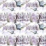 Watercolor winter forest landscape, vector illustration, seamless pattern. Stock Image