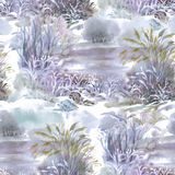Watercolor winter forest landscape, vector illustration, seamless pattern. Stock Photos