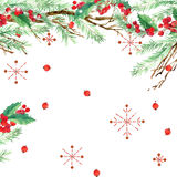 Watercolor winter holidays background. watercolor illustration Christmas tree,  mistletoe branch, mistletoe berry, snowflake. Royalty Free Stock Image