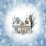 Watercolor winter house in frame with twigs and snowflakes stock illustration