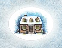 Watercolor winter house with snow in oval frame. Winter old house, cottage with trees in the frame of textured paper. Watercolor hand drawn illustration stock illustration