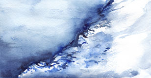 Watercolor winter ice snow frozen lake landscape Royalty Free Stock Photography