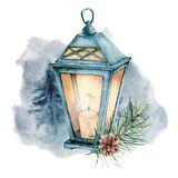 Watercolor winter illustration with glowing lantern. Cute decorative composition: candle lamp, fir branch and pine con. E isolated on white background. Hand royalty free illustration