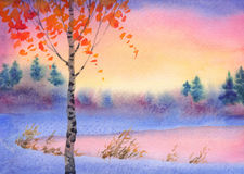 Watercolor winter landscape. Evening sky over lake Stock Image