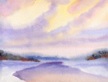 Watercolor winter landscape. Evening sky over lake Stock Photos